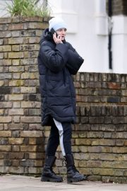 Emma Corrin in Long Puffer Jacket Out and About in London 2020/11/26 5