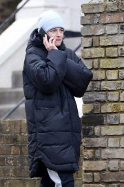Emma Corrin in Long Puffer Jacket Out and About in London 2020/11/26 6
