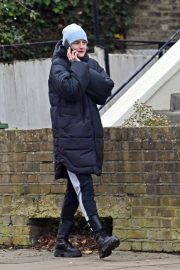 Emma Corrin in Long Puffer Jacket Out and About in London 2020/11/26 8