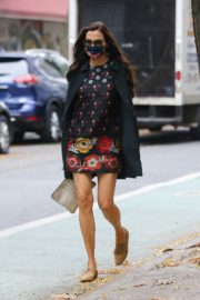 Famke Janssen flashes legs in a Floral Mini Dress Out in New York 2020/10/22 1