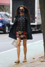 Famke Janssen flashes legs in a Floral Mini Dress Out in New York 2020/10/22 2