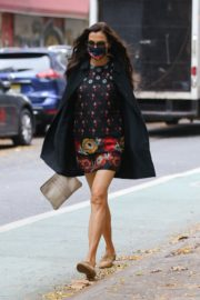 Famke Janssen flashes legs in a Floral Mini Dress Out in New York 2020/10/22 3