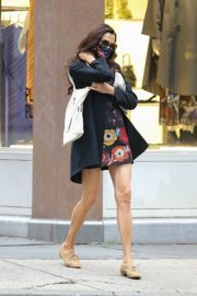 Famke Janssen flashes legs in a Floral Mini Dress Out in New York 2020/10/22 4