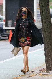 Famke Janssen flashes legs in a Floral Mini Dress Out in New York 2020/10/22 5