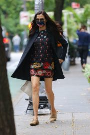 Famke Janssen flashes legs in a Floral Mini Dress Out in New York 2020/10/22 7