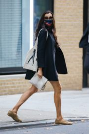 Famke Janssen flashes legs in a Floral Mini Dress Out in New York 2020/10/22 8