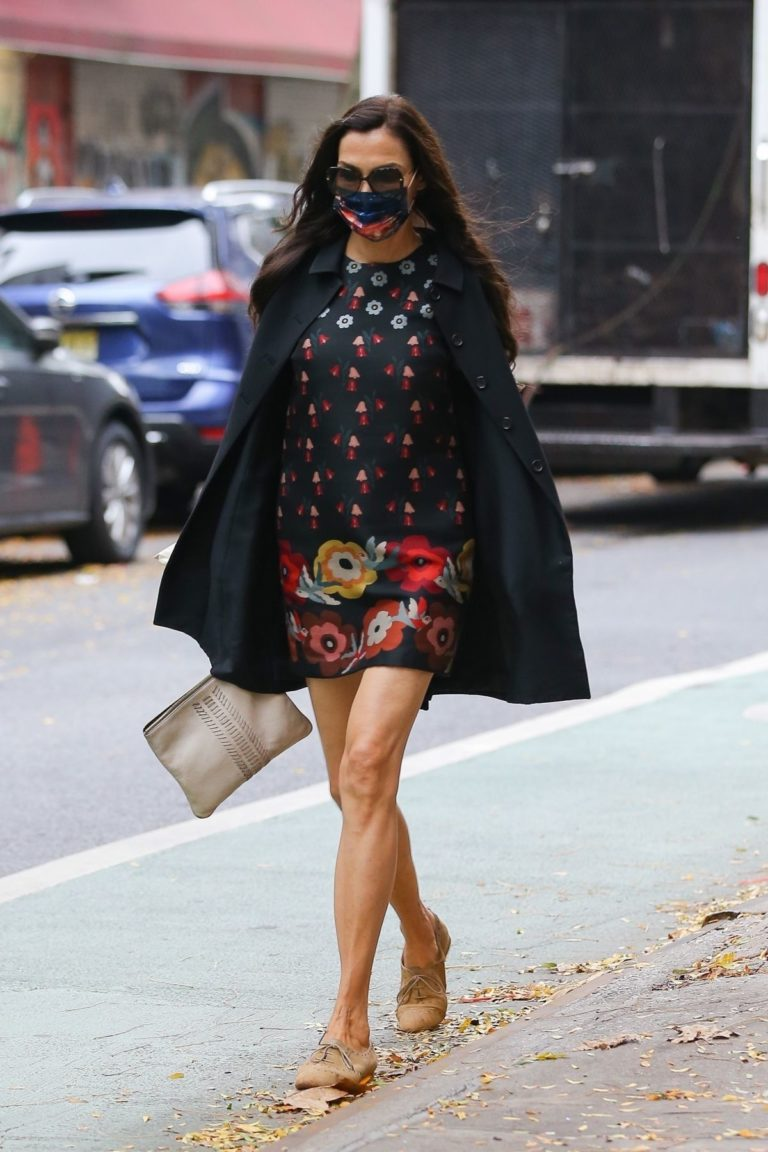 Famke Janssen flashes legs in a Floral Mini Dress Out in New York 2020/10/22 9