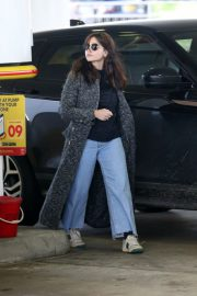 Jenna-Louise Coleman in Long Coat with Jeans at a Gas Station in London 2020/11/15 1