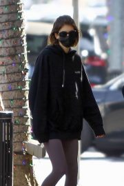 Kaia Jordan Gerber in Black Sweatshirt with Tights Out in Beverly Hills 2020/11/21 3