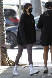 Kaia Jordan Gerber in Black Sweatshirt with Tights Out in Beverly Hills 2020/11/21 4