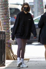 Kaia Jordan Gerber in Black Sweatshirt with Tights Out in Beverly Hills 2020/11/21 5