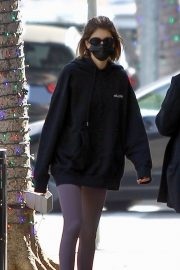 Kaia Jordan Gerber in Black Sweatshirt with Tights Out in Beverly Hills 2020/11/21 6