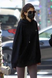 Kaia Jordan Gerber in Black Sweatshirt with Tights Out in Beverly Hills 2020/11/21 7