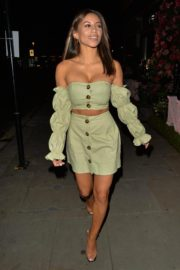 Kayleigh Morris in Stylish Off-Shoulder Dress Night Out in London 2020/10/21 2