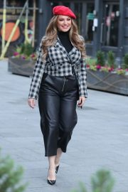 Kelly Brook in Black Leather Long Skirt at Heart Radio in London 2020/11/23 2