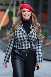 Kelly Brook in Black Leather Long Skirt at Heart Radio in London 2020/11/23 9