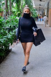 Larsa Pippen flashes her legs in a Tight Black Dress Out Shopping in Los Angeles 2020/11/25 11