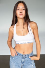 Lily Chee in Calvin Klein Sports Bra and Blue Jeans Photoshoot Portfolio, 2020 Issue 8