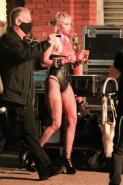 Miley Cyrus flashes her legs during Her Music Video Shoot in Brooklyn 10/01/2020 2