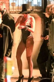 Miley Cyrus flashes her legs during Her Music Video Shoot in Brooklyn 10/01/2020 4