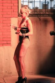 Miley Cyrus flashes her legs during Her Music Video Shoot in Brooklyn 10/01/2020 10