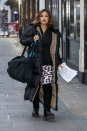 Myleene Klass seen in Long Puffer Jacket Leaves Global Radio in London 11/27/2020 1