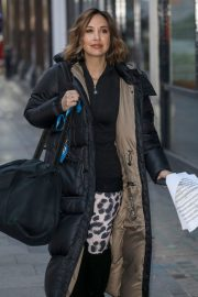 Myleene Klass seen in Long Puffer Jacket Leaves Global Radio in London 11/27/2020 2