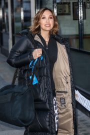 Myleene Klass seen in Long Puffer Jacket Leaves Global Radio in London 11/27/2020 3
