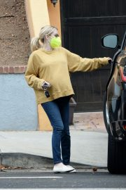 Pregnant Emma Roberts in Mellow Color Top with Dark Jeans Out in Los Angeles 2020/11/23 10