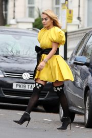 Rita Ora in Yellow Short Skirt Out and About in London 2020/11/23 9