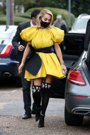 Rita Ora in Yellow Short Skirt Out and About in London 2020/11/23 12
