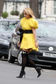 Rita Ora in Yellow Short Skirt Out and About in London 2020/11/23 13