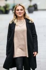 Sian Welby seen in Black Long Coat with Tights Leaves Global Studios in London 11/27/2020 1