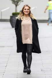 Sian Welby seen in Black Long Coat with Tights Leaves Global Studios in London 11/27/2020 2