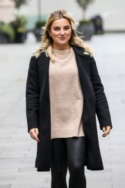 Sian Welby seen in Black Long Coat with Tights Leaves Global Studios in London 11/27/2020 3
