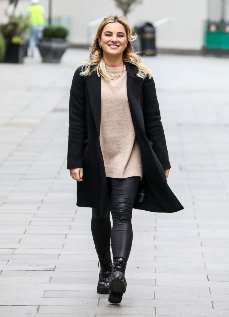 Sian Welby seen in Black Long Coat with Tights Leaves Global Studios in London 11/27/2020 5