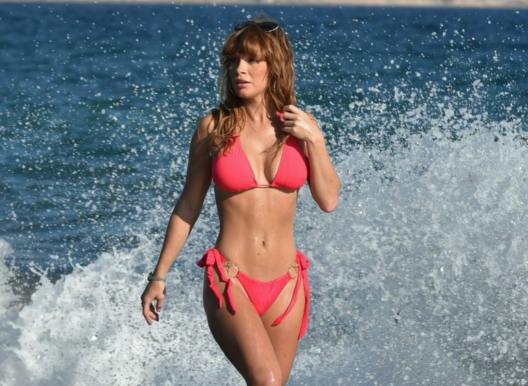 Summer Monteys Fullam in Pink Bikini at a Beach in Cyprus 10/15/2020 2