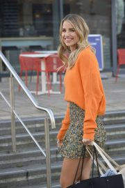 Vogue Williams in High Neck Orange Top and Short Skirt Out and About in Leeds 11/26/2020 1
