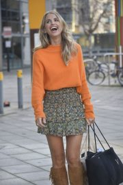 Vogue Williams in High Neck Orange Top and Short Skirt Out and About in Leeds 11/26/2020 2