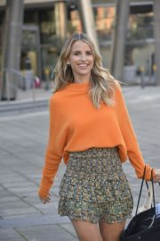 Vogue Williams in High Neck Orange Top and Short Skirt Out and About in Leeds 11/26/2020 3