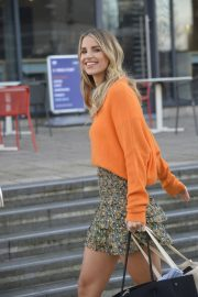 Vogue Williams in High Neck Orange Top and Short Skirt Out and About in Leeds 11/26/2020 4