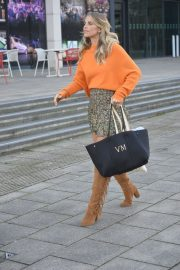 Vogue Williams in High Neck Orange Top and Short Skirt Out and About in Leeds 11/26/2020 5