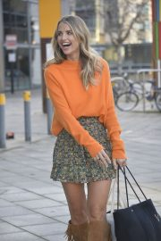 Vogue Williams in High Neck Orange Top and Short Skirt Out and About in Leeds 11/26/2020 6