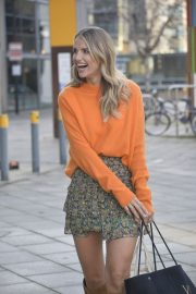 Vogue Williams in High Neck Orange Top and Short Skirt Out and About in Leeds 11/26/2020 7