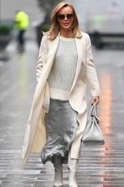 Amanda Holden in Grey Satin Dress with Overcoat Leaves Heart FM in London 12/04/2020 4