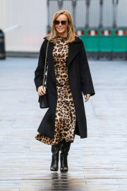 Amanda Holden in Leopard Print Dress with Long Coat Out in London 12/01/2020 1