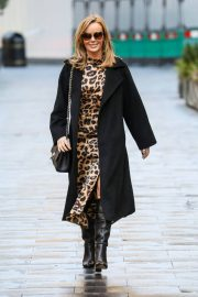Amanda Holden in Leopard Print Dress with Long Coat Out in London 12/01/2020 2