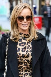 Amanda Holden in Leopard Print Dress with Long Coat Out in London 12/01/2020 3