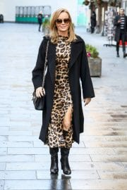 Amanda Holden in Leopard Print Dress with Long Coat Out in London 12/01/2020 4