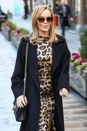Amanda Holden in Leopard Print Dress with Long Coat Out in London 12/01/2020 5